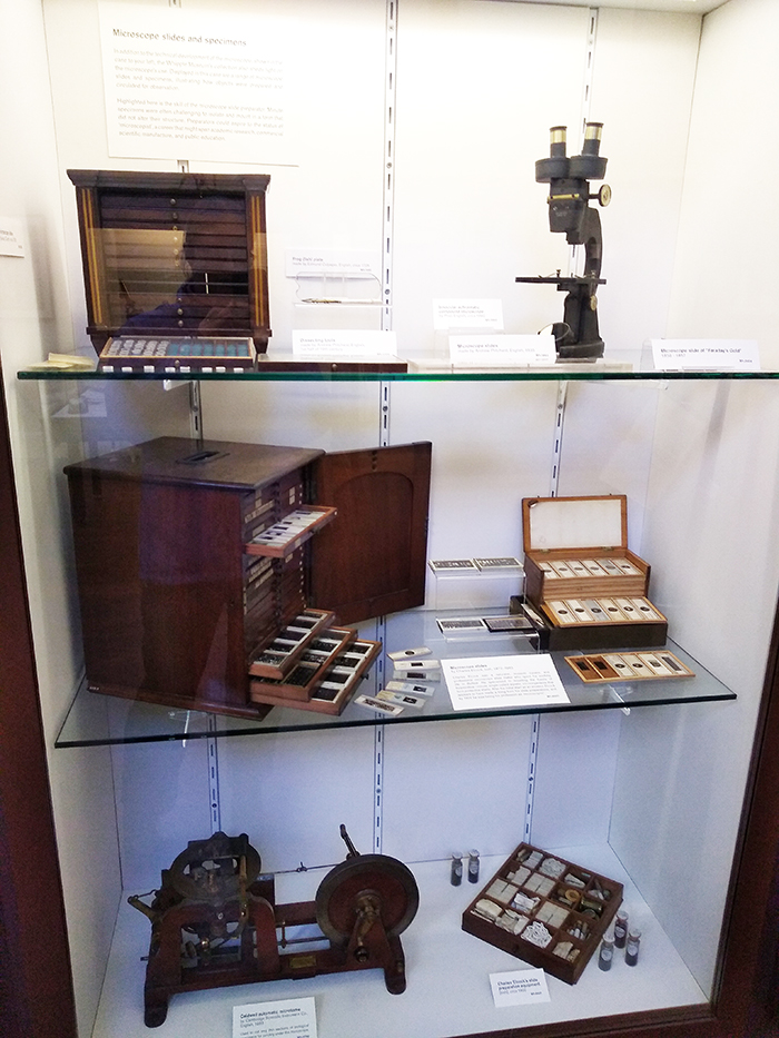 View of museum display including the kit and slides