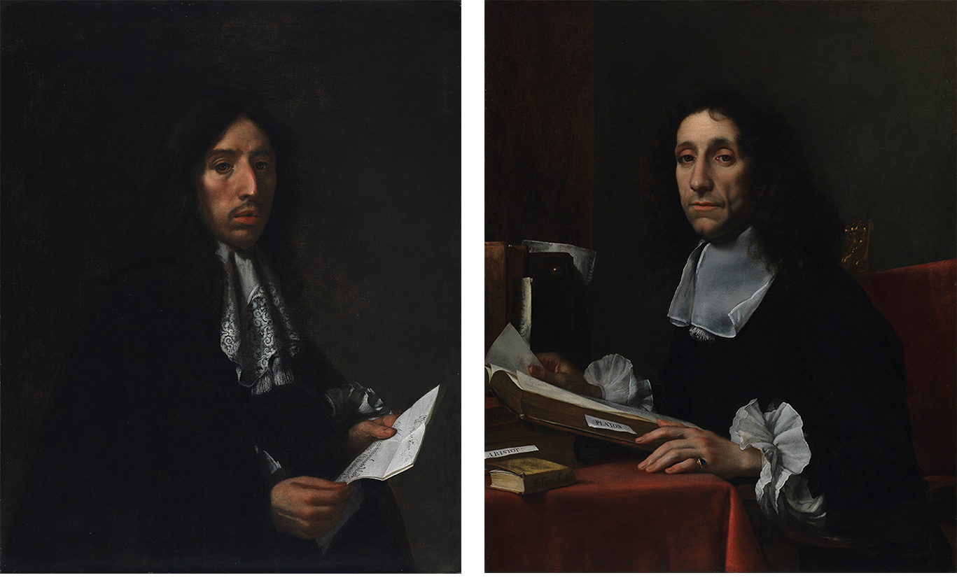 Portraits of Sir John Finch and Sir Thomas Baines side by side, with Finch on the left. Sir John Finch is posed facing right, but turned towards the viewer. It's a dark painting, with his long curly black hair and dark gown offset by his face and white lace collar and cuffs. He looks up, interrupted while reading a long letter (there are two sheets of paper) held in both hands. He has a long nose, straight eyebrows, dark eyes, and a moustache, and looks serious. Sir Thomas Baines is posed facing left, but turned towards the viewer. He is sitting at a desk, covered with a red tablecloth. His square, plain, but very delicate white collar and frilled cuffs draw the attention. Books rest on the desk, with a volume of Plato visible. A large volume is open in front of him, with a tab for notes. His left hand, which rests on the table by the open book, has fine long fingers and wears a ring. He has shoulder-length curly dark hair, heavy-lidded eyes, and is half-smiling.
