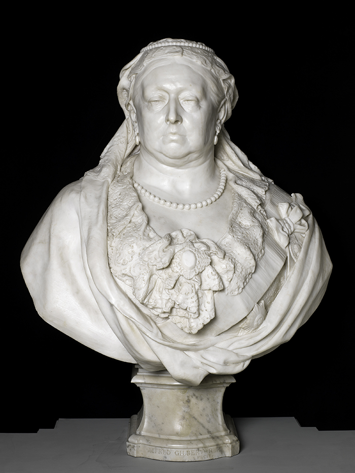 white marble bust of Queen Victoria