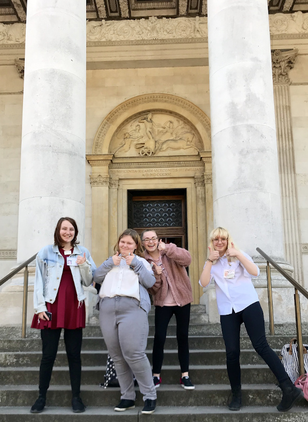 Work Experience Students on the steps of the Fitzwilliam Museum