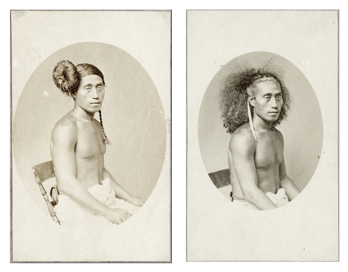 pair of black and white photographs showing a Samoan person posed with hair up and down