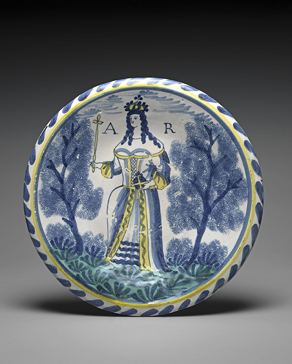 Large plate depicting Queen Anne