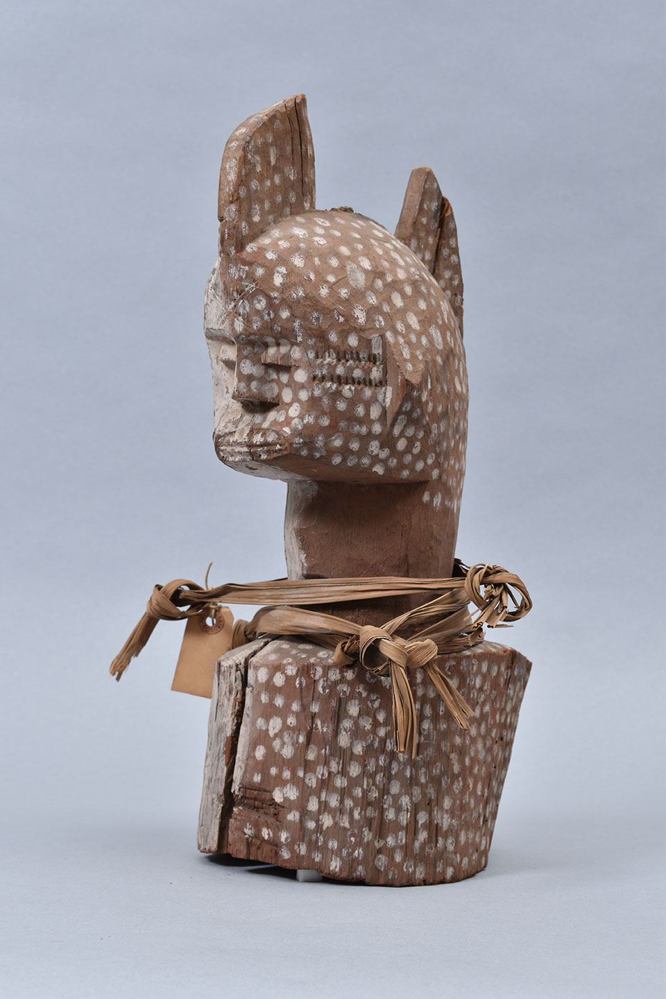 Carved and painted wooden head from Southern Nigeria