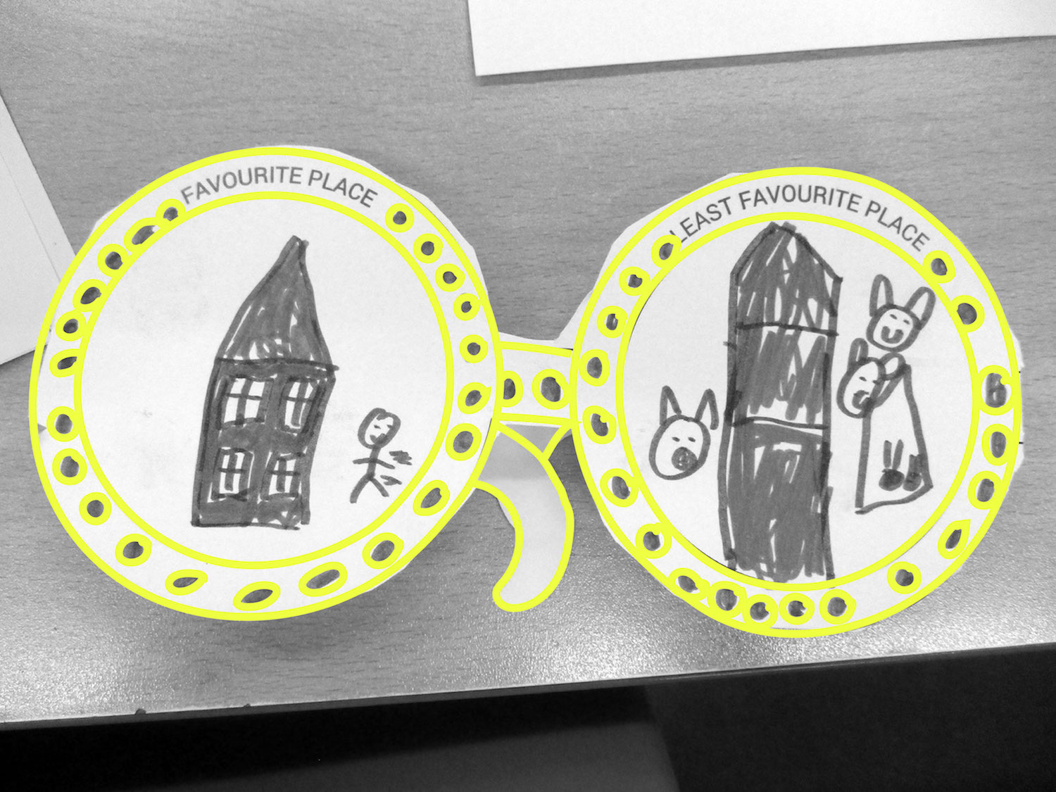 A pair of Empathy glasses made to of paper with a drawing on each lens, one is their favourite place and the other is their least favourite place.