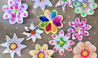 Colourful flowers made out of paper.