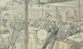 Painting of people playing music on board a ship