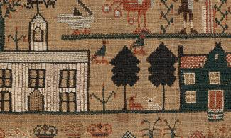 Sampler showing houses and trees
