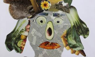 Collage face made from recycled materials