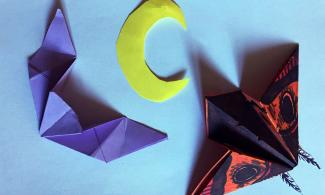 origami moth, origami bat and paper moon