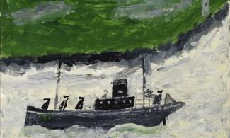 Painting of a boat with a green background