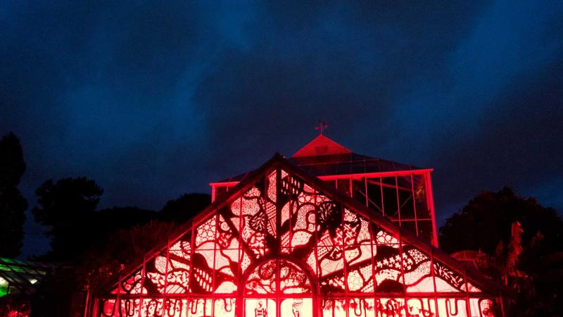 The greenhouse at night with red lights during the festival of lights event