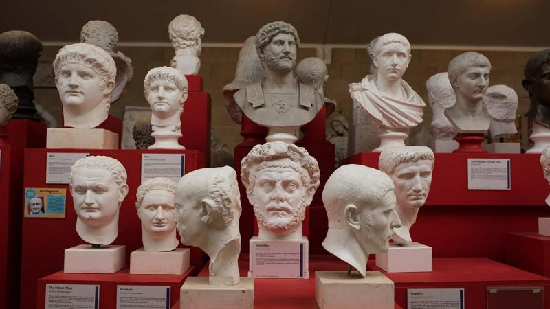 A collection of cast busts from the museum